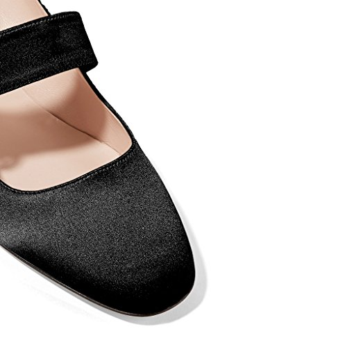 XYD Vintage Retro Mary Jane Shoes Closed Squared Toe Block Low Heels Dress Pumps For Women Black KX5Hy