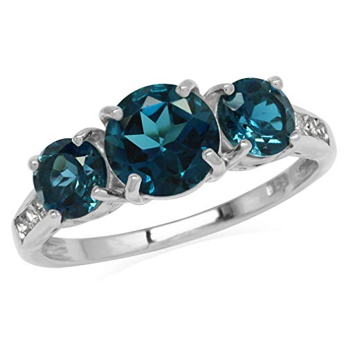 2.81ct. 3-Stone Genuine London Blue Topaz 925 Sterling Silver Ring Size ()