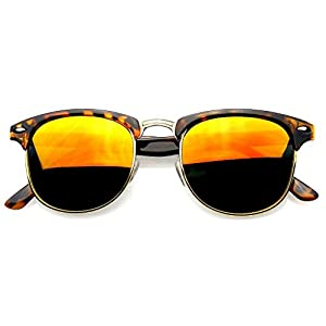 Retro Fashion Half Frame Flash Mirror Lens Semi Rimless Horned Rim Sunglasses
