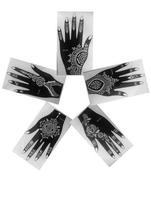 Pack of 5 LEFT UPPER PART OF HAND AS SEEN IN VOGUE Indian ArabianTattoo Patterns Reusable Stickers LAMINAU Stencils