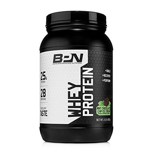 Bare Performance Nutrition, Whey Protein Powder, Mint Chocolate Chip Ice Cream, 2 Pound by Bare Performance Nutrition