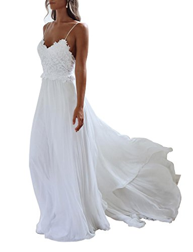 XJLY Spaghetti Straps Applique Backless Long Chiffon Beach Wedding Dress White