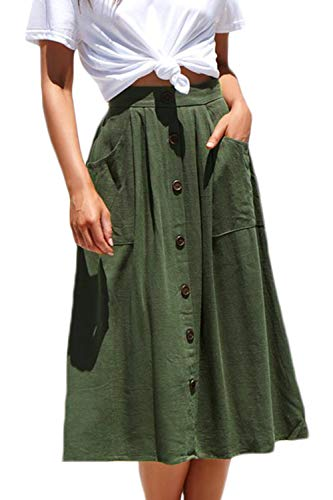 Meyeeka Women Elastic High Waist A Line Skirt Skater Button Front Midi Skirt with Pocket S Army Green