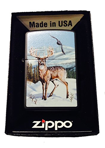 Zippo Custom Lighter - White Trail Buck Deer & Soaring Eagle Winter ()