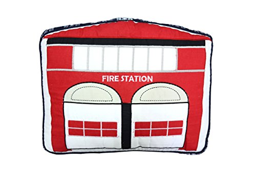 Cozy Line Home Fashions Fire Station Throw Pillow, Red White Embroidered Print Pattern Stuffed Toy Doll Cotton Decorative Pillow, Gifts for Kid Boys (Fire Station, Decor pillow - 1 piece) by Cozy Line Home Fashions