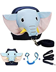 Elephant Toddler Harness Backpack with Leash + Anti Lost Wrist Link Kids Child Walking Wristband for 1-5 Years Baby