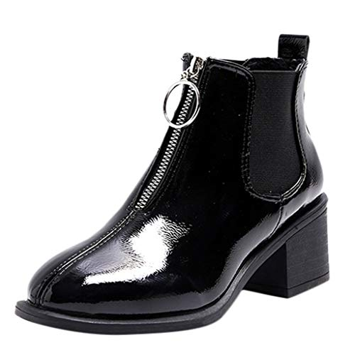 CenglingsWomen Casual Patent Leather High Chunky Heel Boots Zipper Ankle Short Boots Round Toe Shoes Slip On Boots (Patent Guess Sandals Leather)