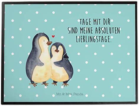 Mr. & Mrs. Panda Unterlage, Schreibtisch, Schreibtischunterlage Pinguin umarmend mit Spruch - Farbe Türkis Pastell
