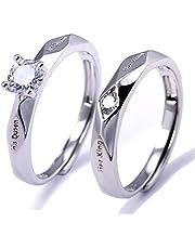 خواتم دبل خطوبة ارتباط قبل الزواج مزين بكريستالة قابل للتعديل يناسب جميع قياسات الاصابع