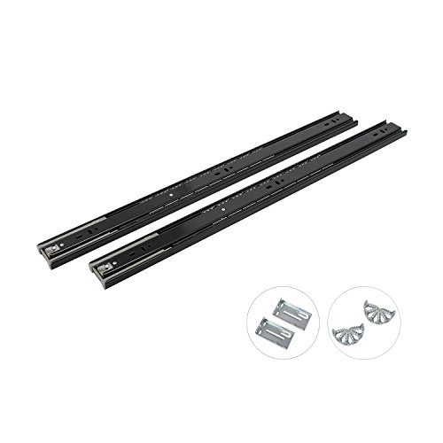 24 Inch Full Extension Ball Bearing Soft Close Slides 80 LB Capacity Kitchen Cabinet Drawer Slides Black Finish, Rear Mount Bracket and Screws are Included (24 Inch 10 Pair) by KNOBWELL (Image #1)