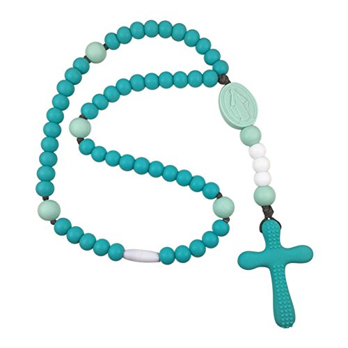 Chews Life Turquoise & Mint Soft Rosary | Silicone Teething Rosary | Boys' or Girls' Baptism or Mass Toy