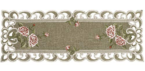 Table Runner with a Pink Rose and Sage Green Burlap Linen Fabric, Coffee Table Scarf, Toilet Lid Scarf, Size 8 x 20 Inch Rectangle