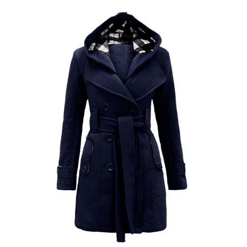 Envy Boutique Women's Belted Button Coat Hood Jacket Top Nav
