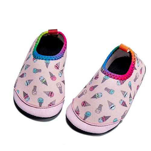 Baby Boys Girls Water Shoes Infant Barefoot Quick -Dry Anti- Slip Aqua Sock for Beach Swim Pool Ice cream/18-24 Months M US Infant