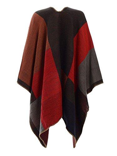 Marca Collo Fazzoletti Cardigan Mode Rot Giaccone Eleganti da Autunno Vintage Invernali Capa BOLAWOO Asimmetrica di Giovane Outerwear Stampato Donna Irregular Eq7xn7S