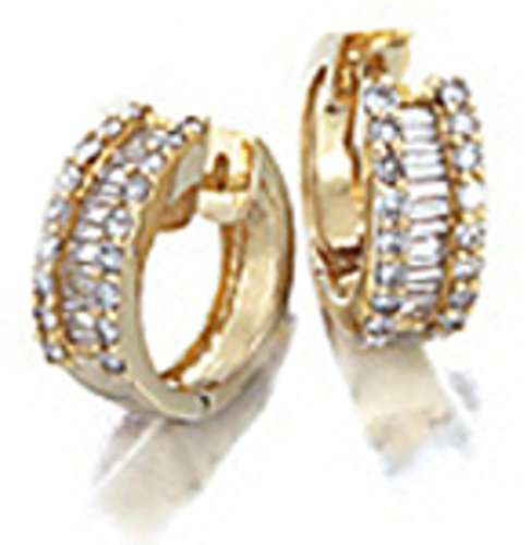 Baguette & Round Diamond Huggie Hoop Earrings 14K Yellow Gold