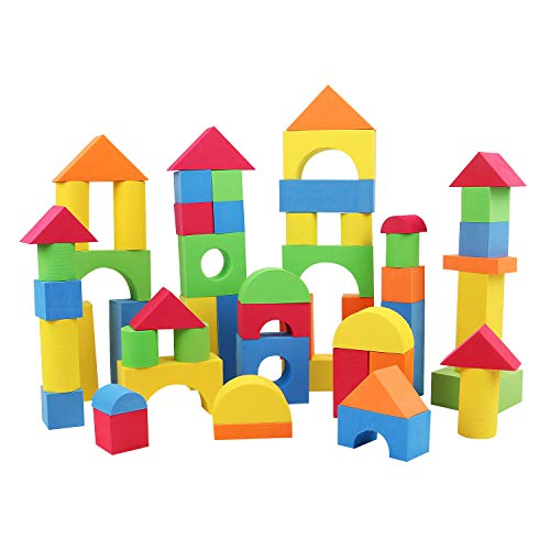 Z ZHIZU Colorful Construction Toy Kids Non-Toxic Soft Lightweight EVA Foam Building Blocks Creative Building Block -Assorted Colors Various Shapes Education Toys for Toddlers (92 pcs)
