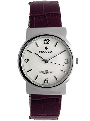 (Peugeot Women Easy Reader Wrist Watch with Expandable Leather Bracelet)