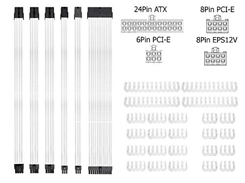Braided ATX Sleeved Cable Extension Kit for Power Supply Cable Kit, PSU Connectors, 24 Pin, 8 Pin, 6 Pin 4 + 4 Pin, 6 Pack, with Cable Comb 24 Pieces Set 24-Pin, 8-Pin, 6-Pin (White) (Braided 24 Pin Cable)