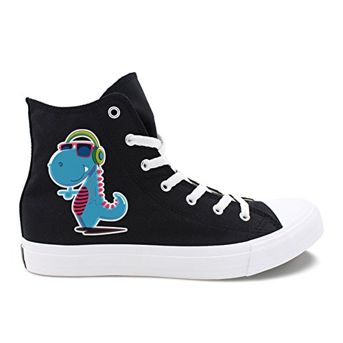 Print Honeystore Flats Plus Animal up for Women Unisex Sneakers Shoes Size Canvas and Men Top Black Lace High F xgrgAB
