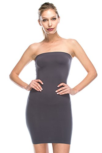 Kurve Strapless Stretchy Comfort Mini Sexy Tube Dress, UV Protective Fabric, Rated UPF 50+ (Made with Love in The USA) Charcoal