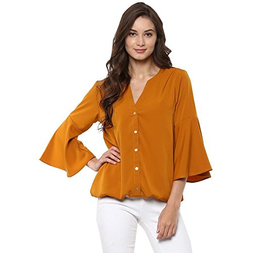 9f98fda5d8a2f Pannkh Women s Mustard Polyester Bell Sleeves Plain Shirt Solid Top ...