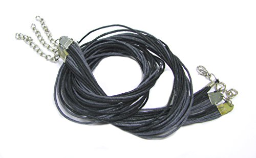 Linpeng TTC-08 3 Piece Strand Waxed Cord Necklace, Two Tone Charcoal