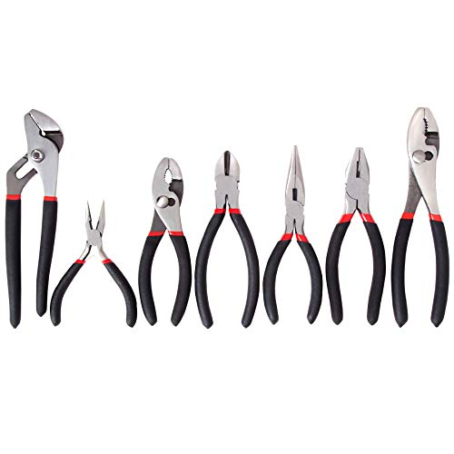 (FASTPRO 7-piece Utility Pliers Set, Includes Slip Joint Pliers, Long Nose Pliers, Diagonal Pliers, Groove Joint Pliers, Linesman Pliers and Mini Long Nose Pliers, Dipped Handle)