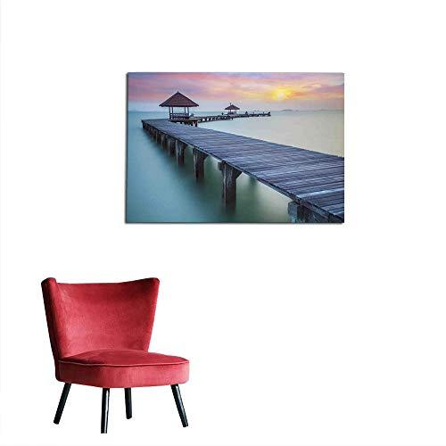 kungfu Decoration Photographic Wallpaper Seascape,Wooden Bridge in The Morning Sunrise Seascape Serene Dreamlike Picture,Grey Mintcream Peach Art Poster W23.6 x L15.7 ()