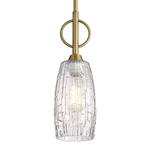 Glass Pendant Light, 1-Light Hanging Pendant Light for Kitchen, Bell Pendant Lighting in Gold Finish with Clear Glass…