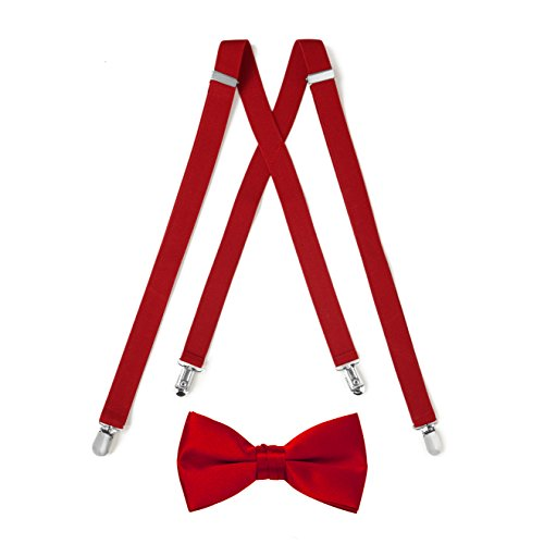 Suspender & Bow Tie Set (Adult, Red) (Bow Spencer Tie)