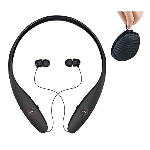 Headphones Wireless Headset with Mic Stereo Neckband Hand-Free Headset Sport Earphone Noise Cancelling Earbud Bek Design (Black)
