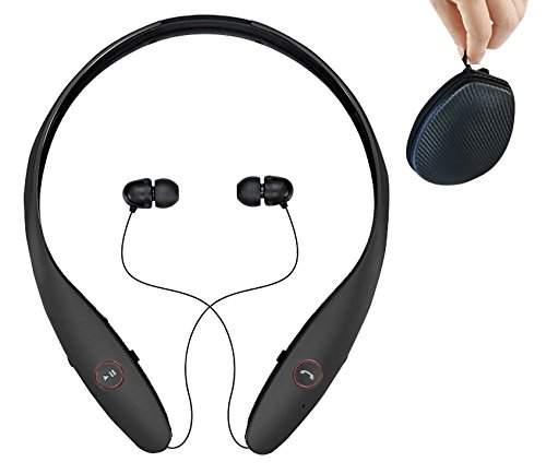 Headphones Wireless Headset with Mic Stereo Neckband Hand-Free Headset Sport Earphone Noise Cancelling Earbud Bek Design (Black)