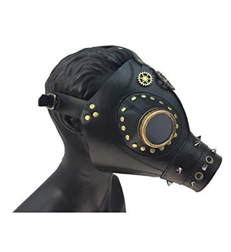 (KBW Adult Unisex Steampunk Dr Plague Black Leather Mask, Vintage Victorian Style Retro Punk Rustic Gothic Motorcycle Pilot Aviator Eyewear Headgear Costume Accessories)