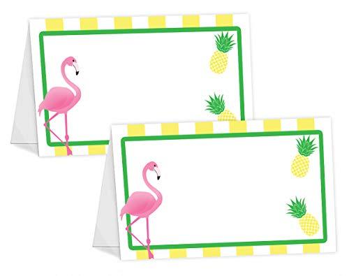 (POP parties Flamingo Pineapple Table Tents - 12 Flamingo Pineapple Buffet Cards - Flamingo Place Cards - Flamingo Decorations - Flamingo Party Decorations - Flamingo Party Supplies)