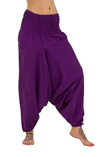 Indian Baggy De Pantalón Morado 100 Harem Deporte Thaiuk Algodón dx1aBHwd