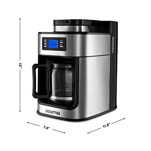 Gourmia With Built In Grinder - - Cup - Drip Carafe - 1050W - Steel
