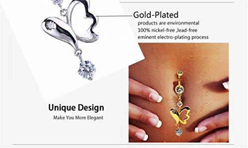 Femmes Longue Piercing Nombril Belly Dance Bijoux Body Art Sexy 316L Chirurgical Pendentif de dauphin de AAA Zircon-Plaqué Argent