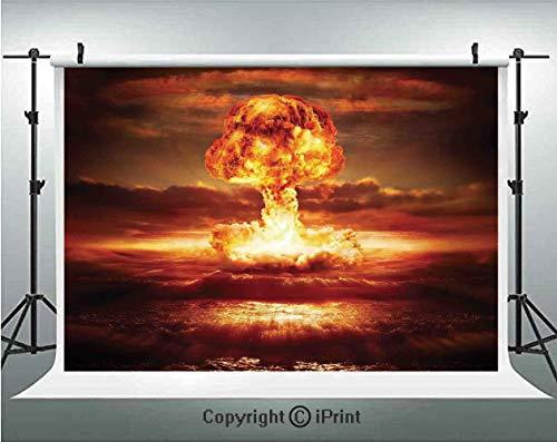 Country Photography Backdrops Bomb in the Ocean Fusion Radioactive Weapon Apocalypse Illustration Print Decorative,Birthday Party Background Customized Microfiber Photo Studio Props,8x8ft,Orange Yello