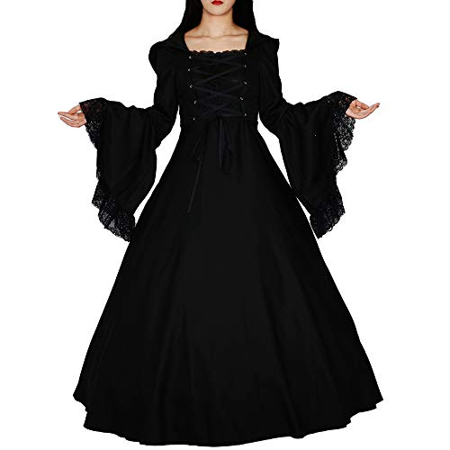 Loli Miss Women's Gothic Witch Vampire Dress Renaissance Medieval Cosplay Hooded Costume Halloween (Black 1, XL) -