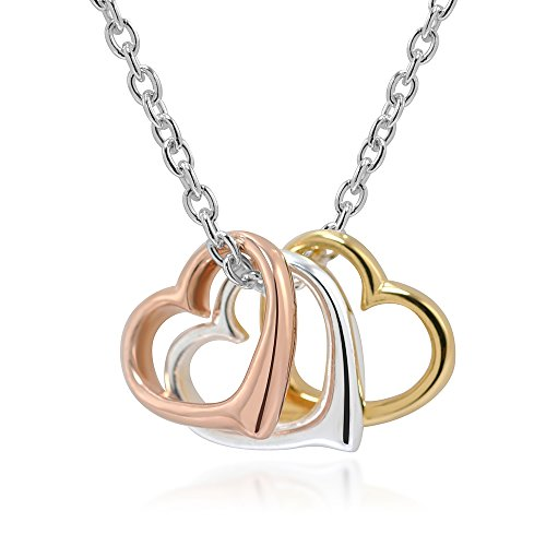 (Chuvora 925 Sterling Silver and Rose Gold Three Tone Triple Hearts Pendant Love Necklace, 16-18 inches)