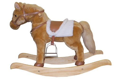 Rocking Horse with Animated Head and Life-like Horse Sounds - Tan