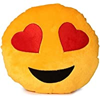 Deals India Yellow Heart Eyes Smiley Cushion, Yellow