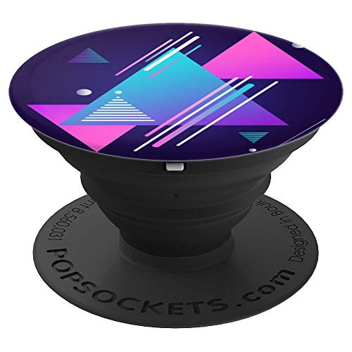 Pedestal Triangle - Teal blue pink and purple retro triangles 90s nineties - PopSockets Grip and Stand for Phones and Tablets