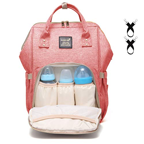 Baby Diaper Bag Large Capacity Baby Backpack Bag Multi-Function Waterproof Travel Maternity Nappy Bag for Mom and Dad with Stroller Straps,Pink ()