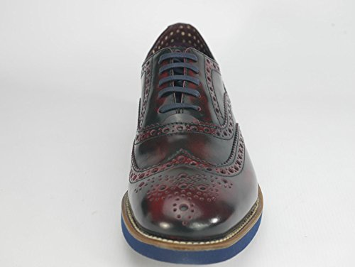 Scarpe Brogue In Pelle Marrone Scuro Di Farnham Bordeaux / Navy Londra
