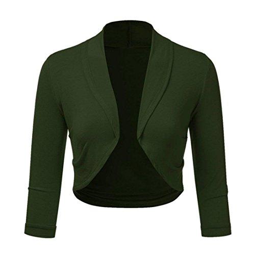 Women Cardigan, Malbaba Plus Size Solid Color Open Front Cropped Mini Shrug Cardigan Office Work Cardigan Waistcoat Jersey Cardigan (4XL, Green) ()