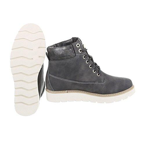 Zapatos para mujer Botas Plano Botines de cordones Ital-Design Gris 560-PA