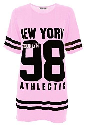 Janisramone Damen Baseball Brooklyn New York 98 Übergröße Baggy T ...