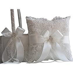 Alex Emotions | Lace Collection | Off White Ring Bearer Pillow & Wedding Flower Girl Basket Set
